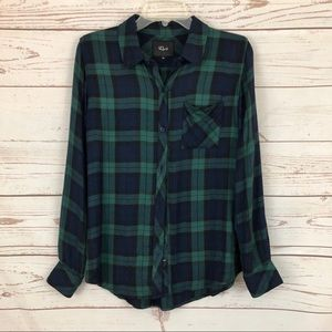 Rails Green Blue Hunter Plaid Tartan Flannel Shirt